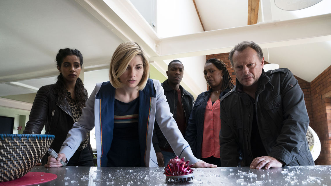 Mandip Gill as Yaz, Jodie Whittaker as The Doctor, Tosin Cole as Ryan, Jo Martin as Ruth Clayton, Neil Stuke as Lee Clayton - Doctor Who _ Season 12, Episode 5 - Photo Credit: Ben Blackall/BBC Studios/BBC America